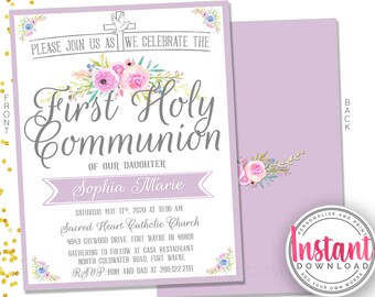 DIY First Communion Invitation - First Holy Communion - Lilac and flowers invitation - Religious Event Invitation - PRINTABLE - Digital File