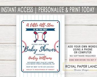 Baseball Baby Shower Invitation   Little All Star Shower   It's A Boy   INSTANT ACCESS   Printable Invitation   Baseball Theme - DIGITAL