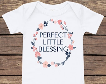 Perfect Little Blessing Baby Bodysuit   Onesie   Baby Shower Gift   New Mom Gift   New Baby Gift   Baby Girl Gift   Personalized Bodysuit