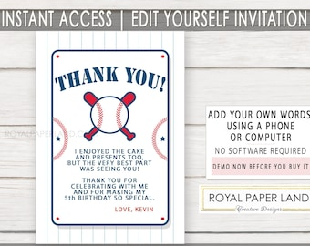 Baseball Add Your Own Words -Thank You Note Card | Baseball Theme | INSTANT ACCESS | Printable Note Card | Baseball Birthday Party - DIGITAL