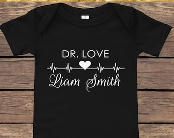 VALENTINE'S DAY Personalized Bodysuit   Dr. Love + Baby's Name   Valentine's Day Gift Baby Shower Gift   New Mom Gift   Personalized Onesie