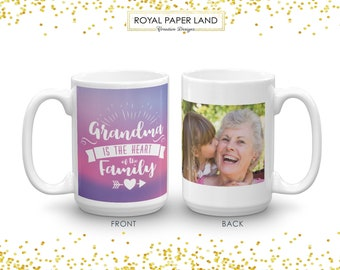 Grandma is the Heart of the Family | Mug for grandma | Personalized Gift for Grandma | A gift for Grandmother | Grandma's Gift Mug