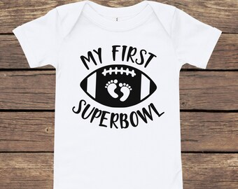 My First Superbowl Baby Bodysuit   Superbowl Gift Baby Shower Gift   New Mom Gift   Football Baby Onesie   PInk, Blue or White Bodysuit