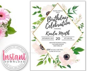 Birthday Invitation ANY AGE| Editable Bridal Invitation | Add Your Own Words | Feminine Invitation | Flowers Invitation | Pink & Gold Invite