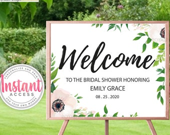 Bridal Shower Welcome Sign | Add Your Own Words | Any Event Welcome Sign | Soft Pink Flowers Shower | Bridal Shower Decor - INSTANT ACCESS