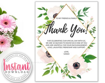 Flowers Thank You Note Card | Add Your Own Words | Spring Theme | INSTANT ACCESS | Printable Note Card | Flower Birthday Party | Baby Shower