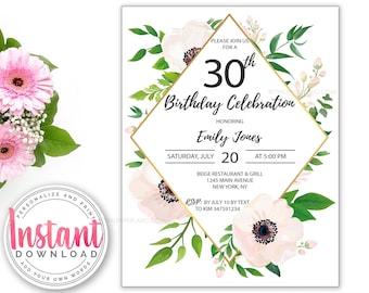 Birthday Invitation ANY AGE | Editable | Add Your Own Words | Feminine Invitation | Flowers Invitation | Pink & Gold Invite | 30th Birthday