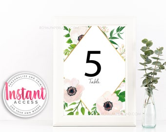 Table Numbers with Soft Pink Flowers | Editable | Instant Access | Add Your Own Words | Table Sign | Wedding Sign | Baby Shower Sign | 4x6in