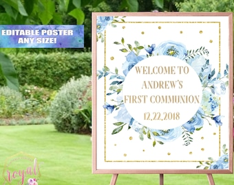 Welcome Sign - First Communion Decor - Blue and gold Welcome Sign - Blue Flowers Welcome Sign - Baby Boy Decor - Printable - DIGITAL FILE