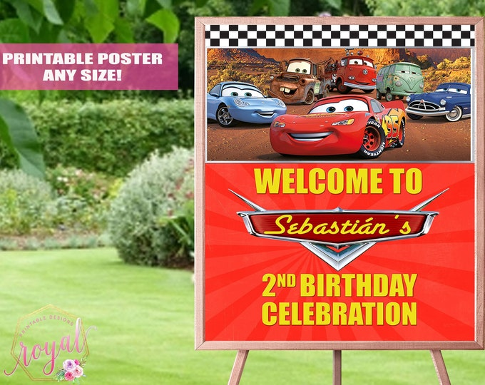 Featured listing image: Cars Theme Welcome Sign - Lightning McQueen Birthday Party - Cars Theme Birthday Party - Boy Party - Printable Birthday Sign - FILE ONLY