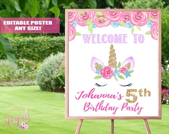 Unicorn Theme Birthday Party Welcome Sign - Birthday Party Welcome Sign - Unicorn Party Decor - Birthday Sign - Printable - DIGITAL FILE