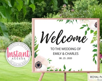 Wedding Welcome Sign | Add Your Own Words | Any Event Welcome Sign | Soft Pink Flowers Wedding | Delicate Wedding Theme - PRINTABLE