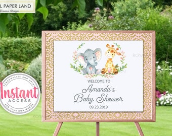 EDITABLE - Sweet Safari Animals Baby Shower Welcome Sign | DYI Sign | Girl Baby Shower | Pink Baby Shower | Elephant BabyShower Decor SAF002