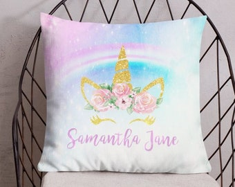 Premium Decorative Pillow | Personalized Unicorn Throw Pillow | Unicorn & Rainbow Decoration | Unicorn Room Decor | Girl Room Decor | UNI004
