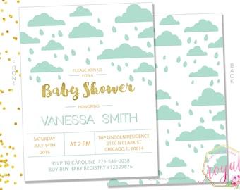 Baby Shower Invitation - Aqua and gold Baby Shower Invitation - Blue, Green Baby Shower - Blue Baby Shower - PRINTABLE - Digital File