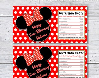 MINNIE MOUSE Chocolate Bar Wrappers - PRINTABLE - Digital File Only