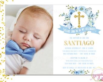 Baptism / First Communion Invitation - Blue Watercolor flowers invitation - Religious Event Cards - Boy Invitation -PRINTABLE - Digital File