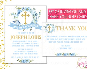 Invitation + Thank You Note Card - Baptism / First Communion - Blue Watercolor flowers invitation - Boy Invitation -PRINTABLE - Digital File