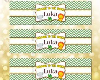 Water Bottle Labels- Safari Theme - Baby Shower Decoration, Birthday Party
