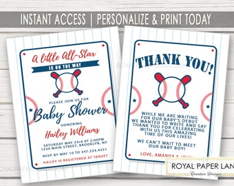 Baseball Baby Shower Invitation with Thank You Note Card | Little All Star Shower | It's A Boy | Invitation Set | Baseball Theme - DIGITAL