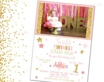 Twinkle Twinkle Little Star Invitation - Party Invitation ~ PINK & GOLD BIRTHDAY