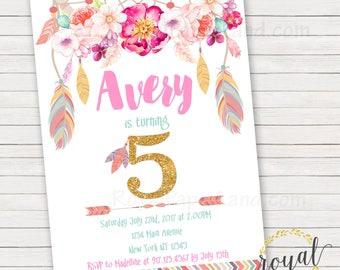 Dream Catcher Birthday Invitation - Boho Birthday Invitation - Feathers and Dream Catchers - Any Age - Printable - DIGITAL FILE