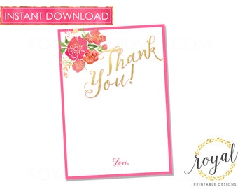 INSTANT DOWNLOAD - Thank You Note Card 5x7in - Party Supplies - Pink and Gold Party, Baby Shower Card, Bridal Shower Card