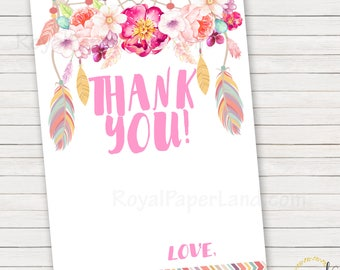 Thank You Note Cards - Boho - Dream Catcher Note Cards - Matching Party Invitation - Printable DIGITAL FILE