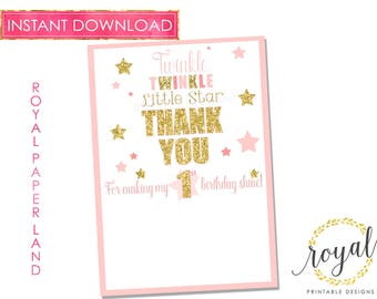 INSTANT DOWNLOAD-  Print & write your own message Thank you Note Card - Gold and Pink - Twinkle Twinkle Little Star - Birthday Notes