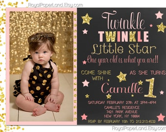 Chalkboard Twinkle Twinkle Little Star Invitation - PINK AND GOLD Party Invitation- Digital File