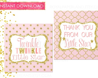 INSTANT DOWNLOAD - 2 Designs of Twinkle Twinkle Little Star 5inches Thank you Favor Tags -Pink and Gold Party Decor