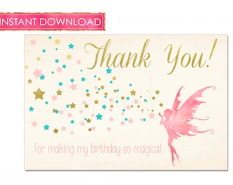 INSTANT DOWNLOAD - Fairy Princess Birthday Thank you note cards, Pink and Gold Party, teal stars party - thank you notes