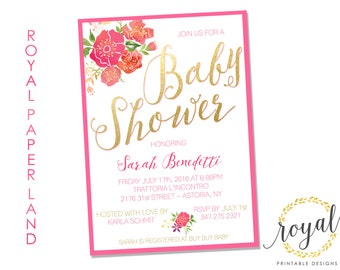 BABY or BRIDAL Shower - Invitation - Summer / Spring Floral Theme - Pink and Gold