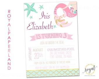 Mermaid Birthday Invitation - Under the Sea Birthday Invitation - Princess Mermaid Party - PRINTABLE FILE