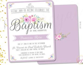Baptism Invitation - Christening Invitation - Lilac and flowers invitation - Religious Event Invitation - PRINTABLE - Digital File