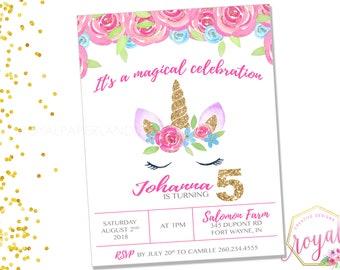 Unicorn Birthday Party Invitation - Glitter Unicorn Invite - Unicorn and Flowers Party - Unicorn Party -  PRINTABLE - Digital File