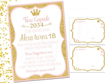 TIME CAPSULE Sign & Note Cards- Gold, Glitter and Pink - Pink Princess Theme Birthday Party - Printable Digital Files