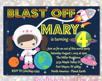 Pink Space Birthday - Out of this world - Astronaut PRINTABLE Invitation - DIGITAL FILE