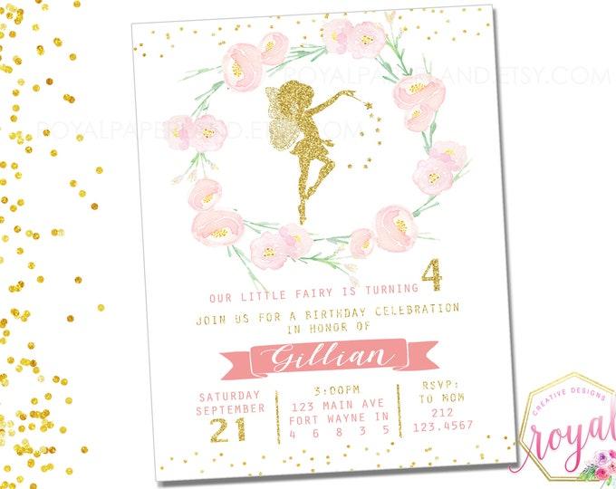 Featured listing image: Fairy Birthday Invitation, Magical Fairy Invite, Fairy Princess, Floral Fairy Invitation, Blush Pink Gold Fairy Party, Fairies, PRINTABLE