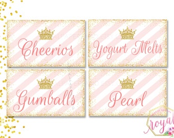 FOOD LABELS - Gold, Glitter and Pink - Pink Princess Birthday Party - Golden crown and Pink Stripes - Printable Food Label - Glitter Pink