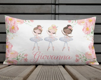 Personalized Premium Pillow Case with stuffing - 20x12 in Ballerina throw pillow -Ballerina decorative Pillow - Girl Bedroom Decor