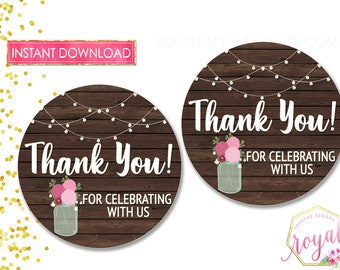 INSTANT DOWNLOAD - 2.5 inches Favor Tags - Rustic, String Lights, Mason Jars Thank You Tags - Wedding Tags - Bridal Shower -  Printable Tags