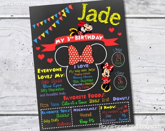 PRINTABLE- Minnie Mouse Birthday Chalkboard Poster - Digital File