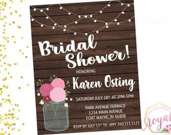 Rustic Mason Jar Bridal Shower Invitation - Pink and white - String Lights - Country Barn - Wood and Floral - Printable - DIGITAL FILE
