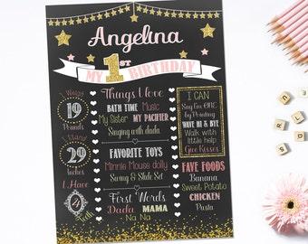 BIRTHDAY CHALKBOARD - Pink & Gold, Twinkle Twinkle Little Star, Princess Theme -Digital Birthday Chalkboard