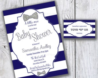 Baby Shower Invitation with Matching Registry Card -BLUE & SILVER Glitter Baby Shower Invite - Printable