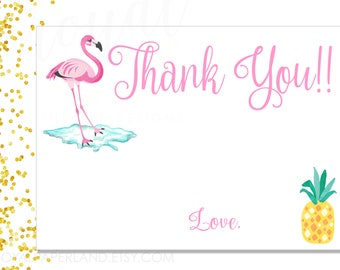 Flamingo Theme Thank you note card - Pineapple theme - Flamingo theme party - Summer party thank you note card - Printable DIGITAL FILE