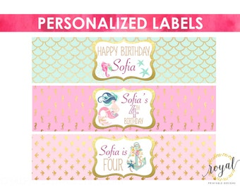 BOTTLE LABELS ~ Personalized mermaid or under the sea bottle labels -birthday decoration - printable digital files