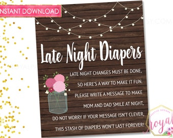 PRINTABLE Late Night Diapers Sign / Printable Baby Shower Sign / Baby Shower Game / Rustic Baby Shower Decoration  Diaper Thoughts Game