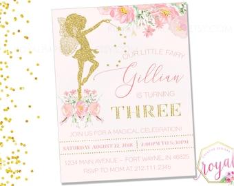 Fairy Birthday Invitation, Magical Fairy Invite, Fairy Princess, Floral Fairy Invitation, Blush Pink Gold Fairy Party, Fairies, PRINTABLE